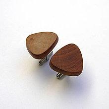 Šperky - Drevené manžetové gombíky - slivkové kúsky (nerez) - 11085925_