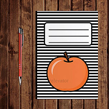 Papiernictvo - Zápisník ovocie - pruhovaný (jablko) - 11083147_