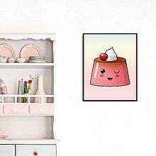 Dekorácie - Digitálna grafika puding(želé) žmurkajúci (čerešňový) - 11084392_