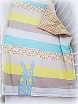 Textil - Deka Zajo na pásoch s minky flis 70x90cm - 11086939_