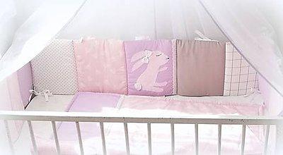 Textil - Jemná kolekcia Violet Bunny /mantinel,deka/ - 11087270_