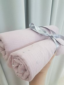 Textil - Sada 2ks de lux mušelínových plienok 75x75cm pre dievcatko - 11087438_