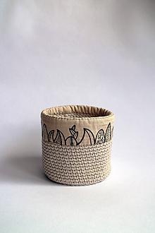 Košíky - Košík háčkovaný | Obšitý | malý | béžový svetlý | Listy I. - 11087046_