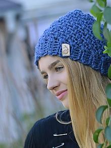 Čiapky - Pohodlná: modrý melír - 11087487_