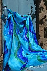 Šatky - Hedvábný šátek Vlny - 11087224_