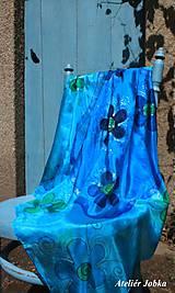 Šatky - Hedvábný šátek Květy - 11087282_