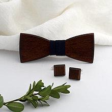Doplnky - Drevený motýlik a manžetové gombíky - 11086737_