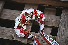 Ozdoby do vlasov - Folklórna svadobná kvetinová parta - 11089611_