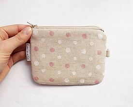 Peňaženky - Peňaženka/dokladovka - Ružovo/biele guličky - 11086931_