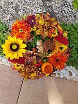 Dekorácie - jesenný veniec s veveričkou 35 cm - 11087360_