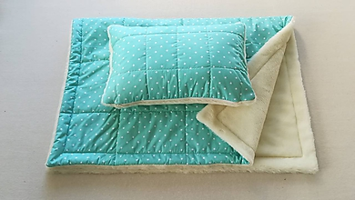 Textil - Vlnienka 100% Ovčie rúno Merino súprava do postieľky prikrývka 100x140 cm s Vankúšom 40 x 60 cm Hviezdička MINT - 11087022_