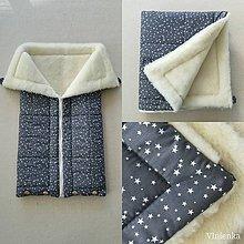 Textil - Vlnienka Deka a fusak DANIEL 2 v 1 100% merino Top Super wash Hviezdička šedá - 11088913_