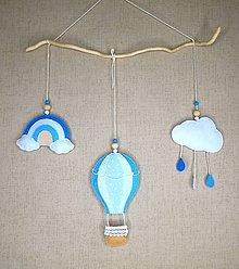 Detské doplnky - Balón medzi oblakmi (veľká dekorácia- modrá) - 11086988_