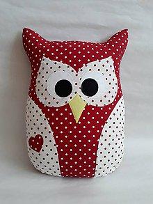 Úžitkový textil - Vankúš sova veľká (Červená) - 11089117_
