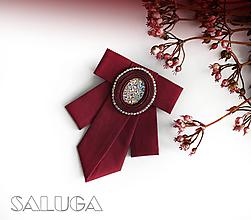 Odznaky/Brošne - Dámsky motýlik - bordový - vínový - šujtáš - 11088815_