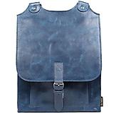 Batohy - Kožený batoh modrý - 11089287_