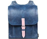 Batohy - Kožený batoh modrý s růžovým řemínkem - 11089307_