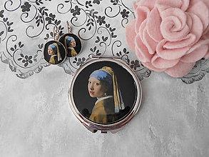 Zrkadielka - Príbeh perlovej náušnice (zrkadielko + náušničky) - 11088316_