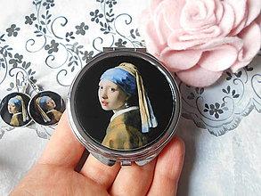 Zrkadielka - Príbeh perlovej náušnice (zrkadielko + náušničky) - 11088325_