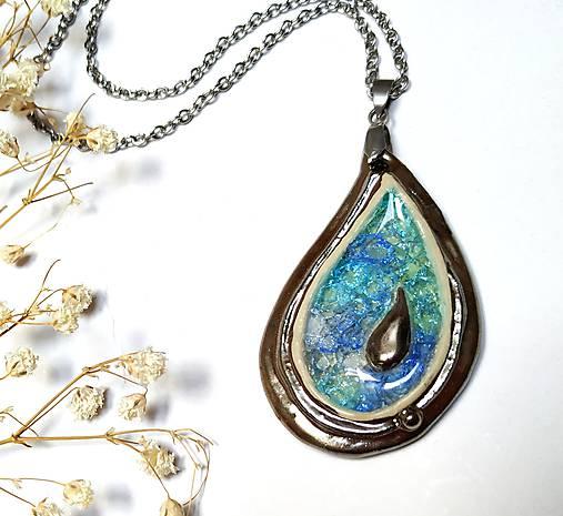 Keramický šperk  zo sklom - Kvapka
