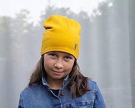 Detské čiapky - Čiapka horčicová z teplákoviny - 11087884_