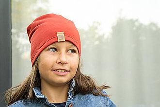 Detské čiapky - Čiapka detská TEHLOVÁ teplejšia - 11087997_