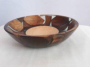 Nádoby - Miska priehľadná živica s kúskami dreva - 11086550_