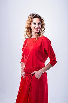 Šaty - Dlhé šaty s pleteným opaskom - 11088285_