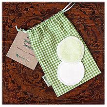 Úžitkový textil - Prateľné odličovanie tampóny / zelené 10 ks - 11087477_
