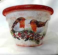 Nádoby - kvetináč vtáčiky v zime - 11087882_