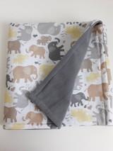 Textil - Detská deka - Šedo hnedé sloníky - 11091021_