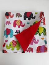 Textil - Detská deka červená - Farebné sloníky veľké - 11091031_