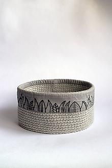 Košíky - Košík háčkovaný | Obšitý | veľký | šedý | Listy I. - 11091864_