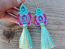 Náušnice - Tassels collection - Turquoise/Cyclamen...soutache - 11090500_