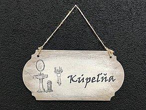 """Dekorácie - Tabuľka """" Kúpeľňa """" s umývadlom (Béžová) - 11090397_"""