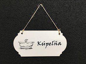 "Dekorácie - Tabuľka "" Kúpeľňa "" s vaňou  (Biela) - 11090681_"