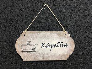 """Dekorácie - Tabuľka """" Kúpeľňa """" s vaňou  (Béžová) - 11090683_"""