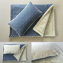 Textil - Vlnienka 100% Ovčie rúno Merino súprava do postieľky prikrývka 100x140 cm s Vankúšom 40 x 60 cm Hviezdička JEANS - 11090298_