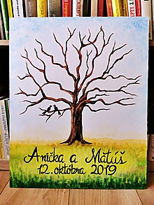 Obrazy - Svadobný maľovaný strom na odtlačky - 11092578_