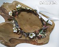 Ozdoby do vlasov - Kvetinový venček do vlasov - jemný - biely - 11091733_