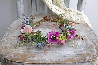 Ozdoby do vlasov - Kvetinový venček ,,pestrý,, - 11090112_