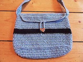 Kabelky - Dievčenská háčkovaná kabelka - modrá - 11091863_