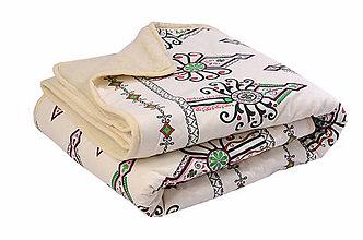 Úžitkový textil - Deka z ovčej vlny biely vzor - 11092370_