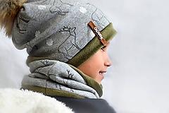 Detské súpravy - Zimný set Obojstranný s Odopínacím brmbolcom jelene gray & khaki - 11092606_