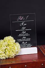 Darčeky pre svadobčanov - Svadobné menu na transparentný plast - 11090383_