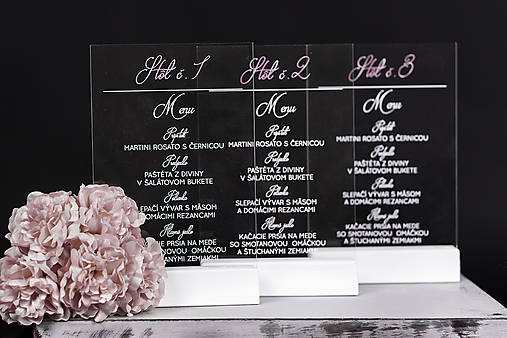 Svadobné menu na transparentný plast