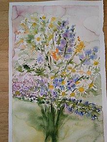 Obrazy - Akvarel Luční kytice originál - 11091333_
