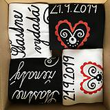 Obuv - Maľované ponožky pre novomanželov / k výročiu svadby (biele+čierne) - 11092558_