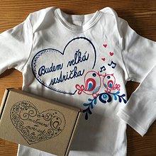Detské oblečenie - Maľované tričko pre budúcu sestričku (Folk na body) - 11092534_
