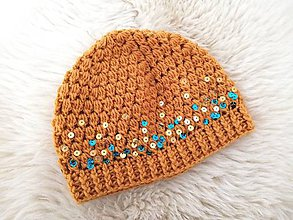Detské čiapky - Horčicova čiapočka s flitrami - 11091095_